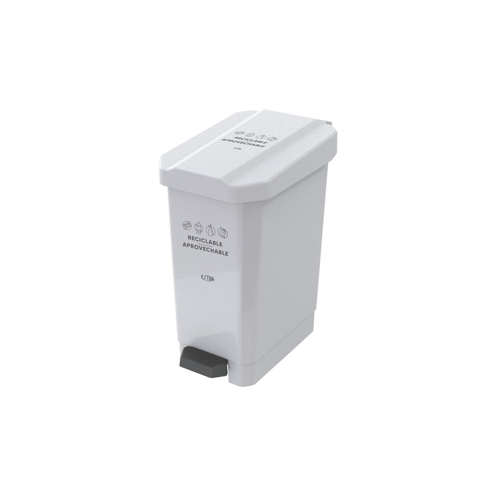 Caneca EstraBins Pedal 10L Blanco-Reciclable Aprovechable