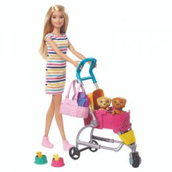 BARBIE MATTEL CARRIOLA DE PERRITOS GHV92