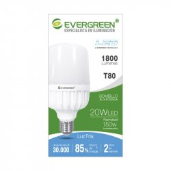 Bombillo Evergreen T80 Led 20w E27 Alta Potencia