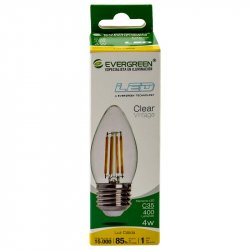 Bombillo Led Vela Vintage Evergreen 4C35 4W-Transparente
