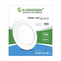 Panel Evergreen Ee-Pl12 Led 12w Lb Redondo Incrust