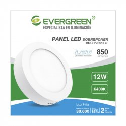 Panel Evergreen Ee-Pl12ra Led 12w Lb Redondo