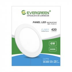 Panel Evergreen Ee-Pl6 Led 6w Lb Redondo Incrust