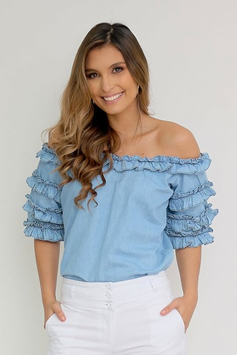 Blusa Denim off shoulders con detalle de boleros en mangas
