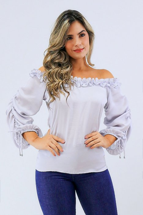 Blusa off Shoulders con Manga ruchada