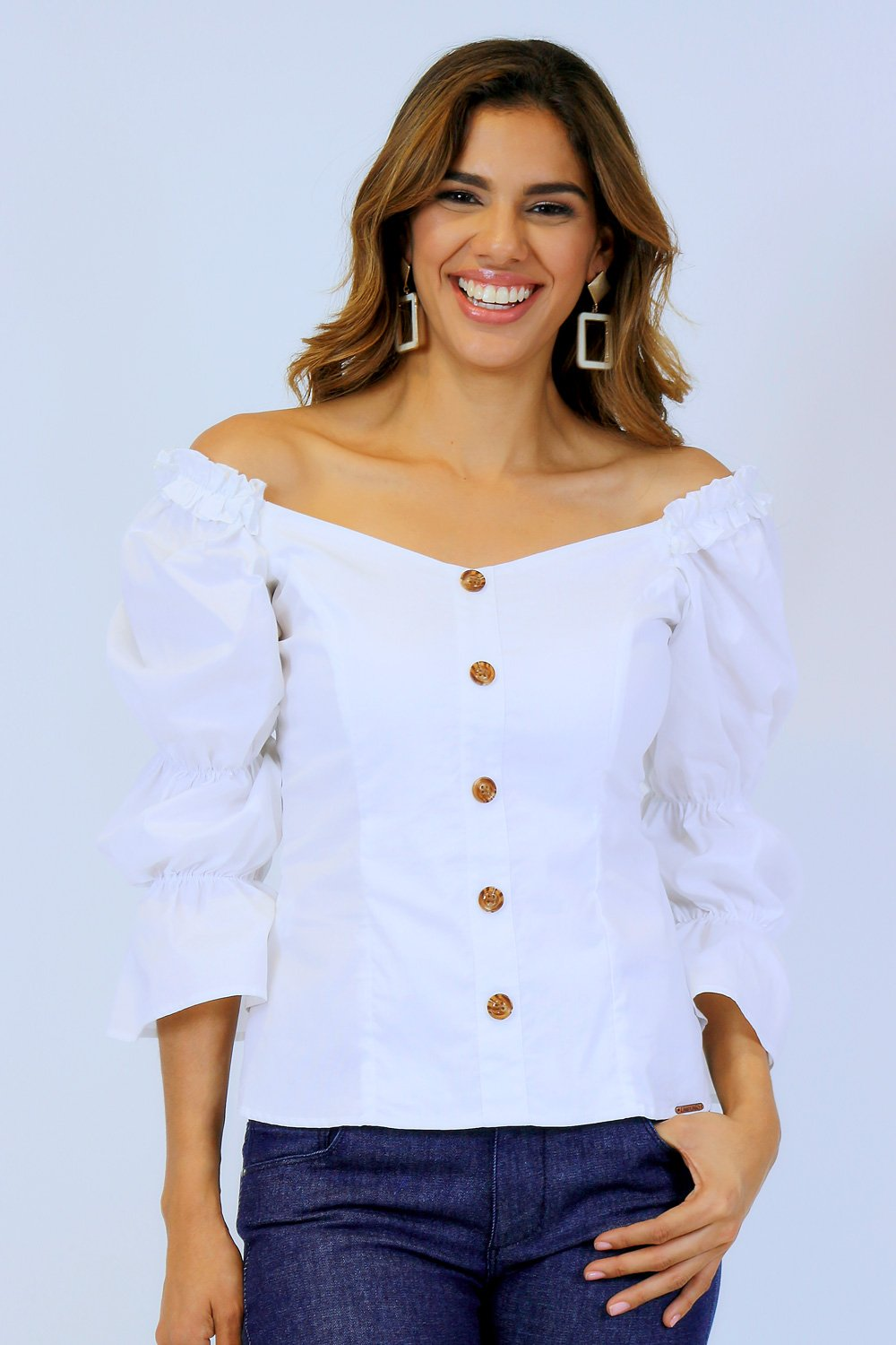 Blusa of shoulders espalda resortada blanco talla 8
