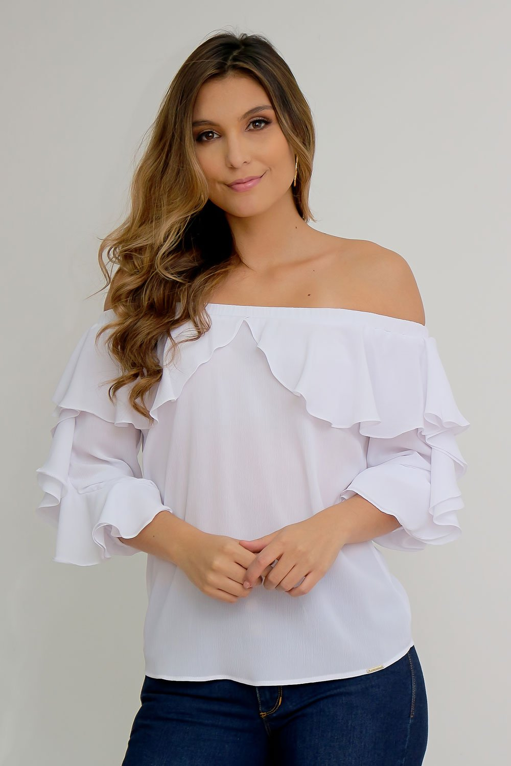 Blusa Off Shoulders con Boleros Blanca talla 8
